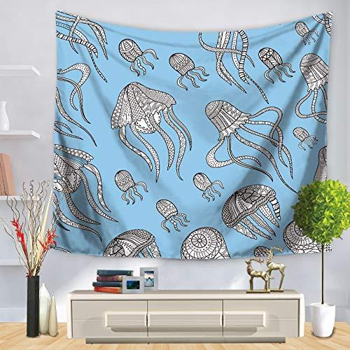KHKJ Tapiz de Pared de Arte de organismo Marino, patrón de delfín de Caballo de mar, Manta de Dormitorio Decorativa para el hogar, Toalla de Playa, Esterilla de Yoga A9 150x130cm