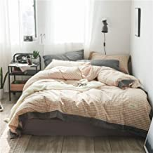 Duvet cover Four Piece Bed Pink Plaid Pattern 3/4Pcs Bedding Sets Luxury Bed Linen Simple Style Bedding Set (Color : King, Size : 200 * 230cm)