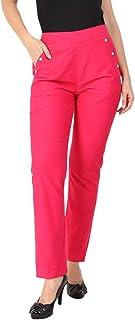 Makxziya Women's Pink Regular Fit Rayon Trouser