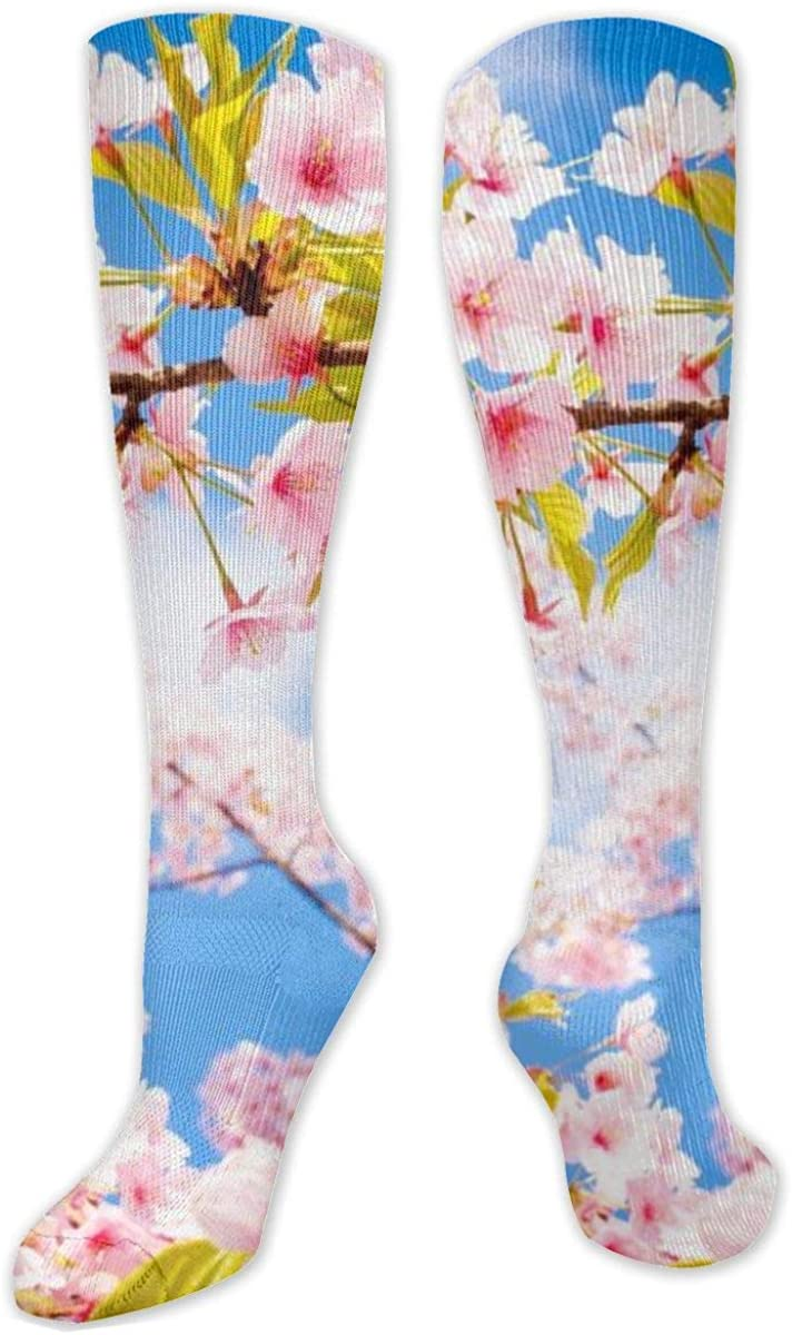 Spring Pink Flowers Knee High Socks Leg Warmer Dresses Long Boot Stockings For Womens Cosplay Daily Wear