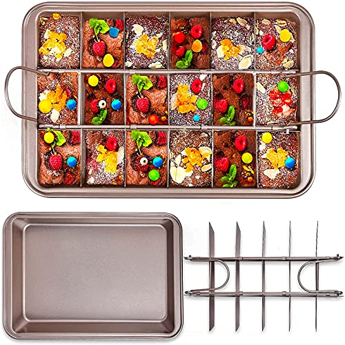 Brownie Pan, Baking Pan with Dividers, Brownie Baking Pan Divider, 18 Pre-slice Brownie Cutter, All Corners Brownie Pan Nonstick, Candy Tray Square Pan for Oven Baking Cake Biscuit Muffin, 12X8X2 inch
