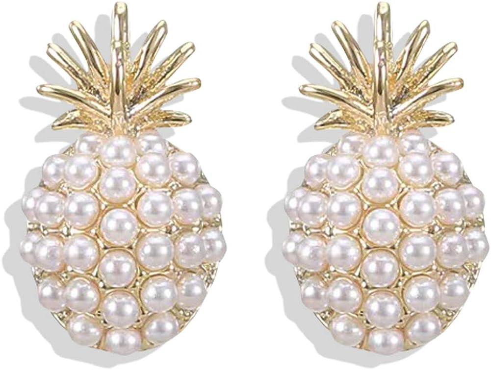 White Arrival Geometric Pearl Women Classic Stud Earrings Pineapple Pearl Earrings Female Fashion Earrings Female Jewelry