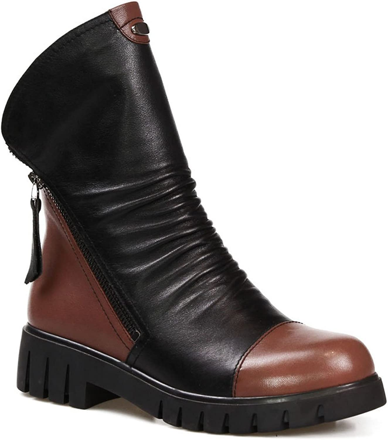 LIDIAN Women's Leather Autumn Winter Ankle Boots