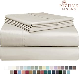 Pizuna 400 Thread Count Cotton Sheets Set, 100% Long Staple Cotton Beige Full Size Sheets Set, Soft Cotton Sateen Bed Sheets, Deep Pocket fit Upto 15 inch (Taupe Full 100% Cotton Sheet Sets)