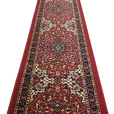 "Runner Rug 3x10 Hallway Red Medallion Kitchen Rugs and mats | Rubber Backed Non Skid Living Room Bathroom Nursery Home Decor Under Door Clearance Entryway Floor Non Slip Washable | Made in Europe - SIZE: 31 inch x 120 inch (2'7"" x 10') 
