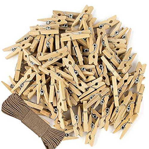 100 Piece Small Natural Wood Clips Mini Clothespins with Metal Spring Jute Twine Miniature Laundry Peg Pin for CraftArt ProjectDIYParty Decorative