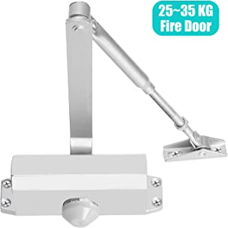 Door Closer Automatic Adjustable Mechanism, Hydraulic Gate Closer Easy Installation Residential and Commercial Door Arm Fitting Template for Middle-Weight Wood Metal Fire Doors