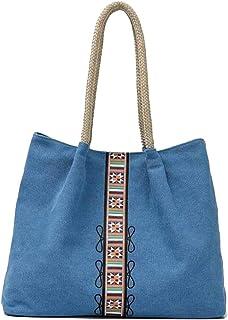 Trendy Lady Printed Canvas Bag Large Capacity Messenger Bag Casual Large Capacity Handbag Zgywmz (Color : Blue, Size : 40 * 12 * 31cm)