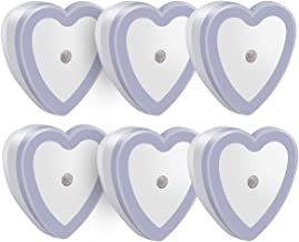 Youdepot Heart Shape 0.5W Plug in LED Night Light Lamp with Sensor,with Automatic Dusk to Dawn Light Sensor, White, Pack of 6