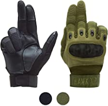 HAWK XR Tactical Gloves for Men & Women, Upgraded Touch Screen. Free MESH Pouch. Black or Green Full Finger & Hard Knuckle Plate. Motorcycle, Military, Police, Outdoors, Shooting Gear. S,M,L,XL Size.