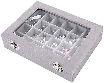 Ivosmart Velvet Glass Jewelry Ring Display Organiser Box Tray Holder Earrings Storage Case