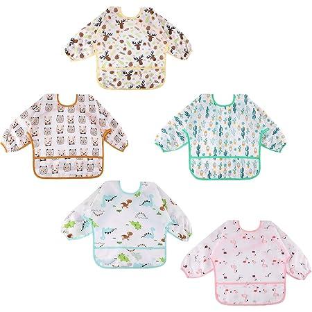 Lictin Baberos Bebe Impermeables- 5 Pcs Baberos Bebe con Mangas con Escote Ajustable, Baberos Bebe Impermeables con Mangas para Bebes de 0-24 Meses