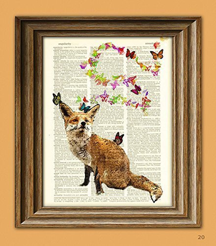 Fox and Butterflies Fantasy Art Print Illustration Beautifully Upcycled Dictionary Page Book Art Print