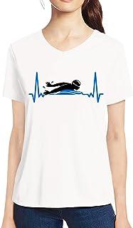 Pooplu Mens Swimming is My Life Cotton Printed V Neck Half Sleeves Multicolour T.Shirt. Sports, Diving, Swimming, Symbol Tshirts