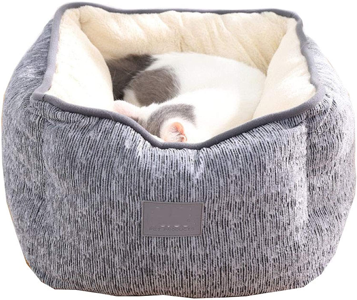 Cat Dog Kennel Square Warm Thick And Comfortable Breathable High Backrest Autumn And Winter Small Pet Dog Sleeping Mat,2 colors,Grey45  45  23cm