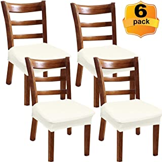 NORTHERN BROTHERS Dinning-Chair-Seat-Covers-Dining Chair Slip Covers-Dining Room Chair Cover-6 Pack Beige Chair Seat Covers