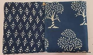 HANDICRAFTOFPINKCITY 10 Yard Hand Block Print Fabric Indian Hand Dyed Shibori Fabric Indigo Blue Fabric M23