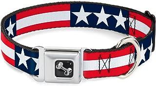 Buckle-Down Seatbelt Buckle Dog Collar - Stars & Stripes Blue/White/Red/White - 1