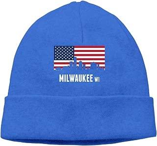 Beanie Hat Winter Warm Fashion Knit Cap American Flag Milwaukee Men's