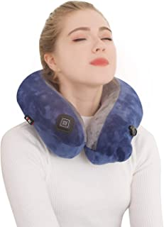 Travel Neck Massage Pillow Inflatable - Kmall 3D Cervical Neck and Massger,U Shaped Kneading Massage Pillow for Shoulder Leg Body Muscle Pain Relief Use at Airplane Car Home Office, Blue+Grey