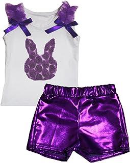 Petitebella Girls' Easter Floral Bunny White Shirt Bling Short Set