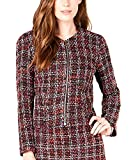 Maison Jules Women's Collarless Tweed Zip-Up Jacket Red/Black Tweed Large