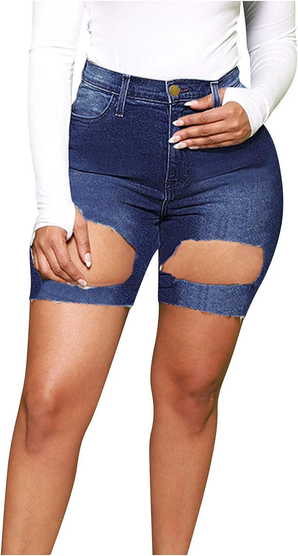 HUOJING Short Tight Jeans for Women Ripped Denim Shorts Solid Color Skinny Capri Shorts Oversized Summer Shorts,Blue,L