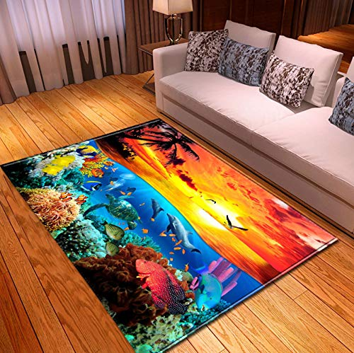Home Carpet, 3D Beach Sunset Coconut Tree Coral Dolphin, Entrance Doormat Living Room Sofa Area Large Carpet 140x200cm