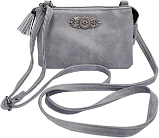 Schuhmacher Trachtentasche Dirndltasche kleine Umhängetasche Kunst-Leder grau