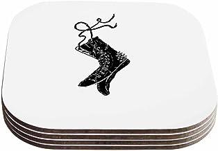 """قاعدة أكواب بتصميم بارماليسي آر تي بي """"داماجد"""" باللونين الأسود والأبيض (مجموعة من 4 قطع) من كيس إنهاوس، 10.16 سم × 10.16 س..."""
