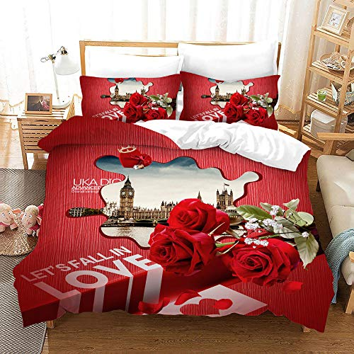 MOUPSDT Duvet Cover Set Brown bell tower lake view red rose flower King:86.7 inch x 95 inch Bedding Sets with Zipper Closure and Easy Care Hotel Quality with 2 Pillow covers 50x75cm