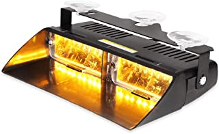 WOWTOU Amber Dash Deck Light 16W LED with 18 Flash Patterns for Tow Truck,Utility Vehicle,Constuction Vehicle, SPV etc.