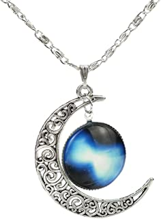 CHOP MALL Blue Starry Galaxy Time Gem Silver Moon Pendant Jewelry Chain Necklace for Boy/Men/Father/Girl/Lady/Women/Anniversary Gift