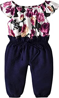 Infant Toddler Baby Girls Jumpsuit Flower Patterm Top Long Pants Bodysuit Birthday Dresses Overalls Summer Outfit Set