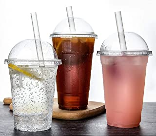 TashiBox [ 16oz - 100 Set ] Plastic Cups with Dome lids Clear, Iced Coffee, Smoothie, Juice, Soda, Cocktail and Party Cups