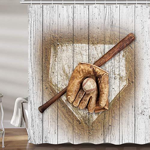 JAWO Baseball-Duschvorhang für Badezimmer, Baseball-Handschuh, Fledermaus auf Holz, für Herren, Jungen, Sportthema, Beruf, Polyester-Stoff, Badezubehör, Vorhänge mit 12 Haken, 177,9 x 177,8 cm