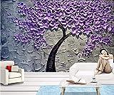 Papel pintado de árbol de dinero, color púrpura, pintura al óleo, con cuchillo tridimensional, pintura de árbol, fondo de pantalla 3D, 150 cm x 105 cm
