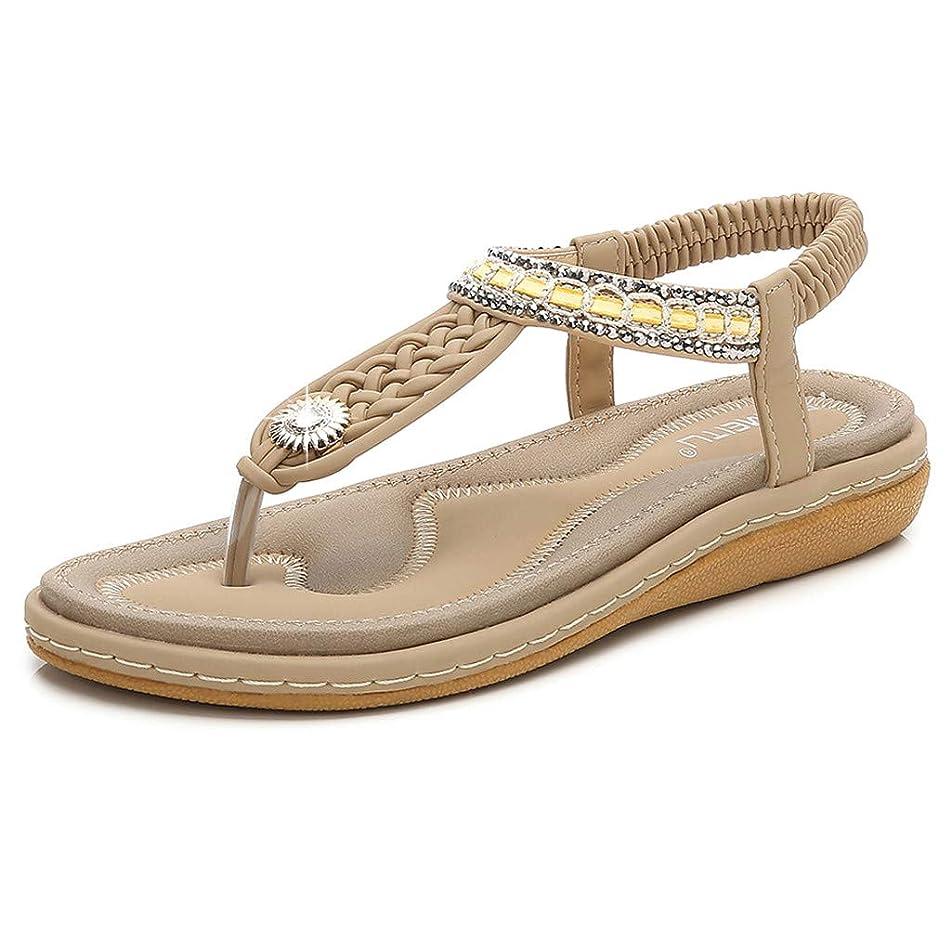 Tantisy ??? Women's Bohemian Casual Sandals/Crystal Woven Roman Sandals/Comfy Flat Shoes/Elastic Band/Heel High:3cm/1.2