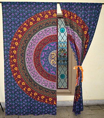 Traditional Jaipur Multi Color Floral Mandala Curtain Boho Window Treatment Set Door Hanging Drape Balcony Room Bohemian Decor Curtain Boho Set of 2-82 x 26 inches Each