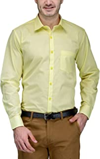 BEING FAB Men's Solid Cotton Blend Regular Fit Formal Yellow Shirt