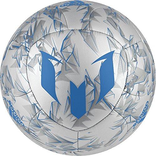 Balón de fútbol Adidas Performance Messi - Messi Soccer Ball, Size 4, Silver Metallic Grey/Shock Blue/Vista Grey