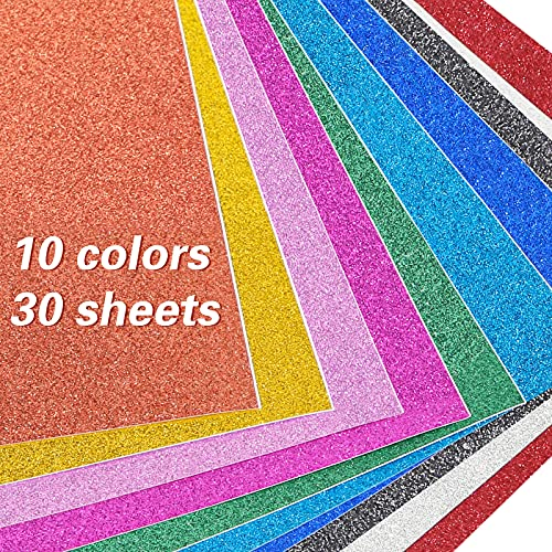 JOHOUSE 30Sheets Glitter Paper Sheets, Self-Adhesive Glitter Sticker Paper, for Craft DIY, 10 Colors, A4