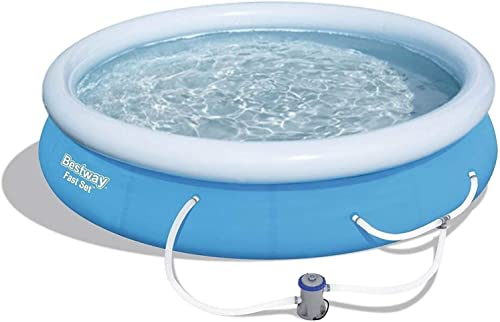 high quality Bestway 57275E Fast Set Up 12ft sale x 30in Outdoor Inflatable Round Above Ground Swimming Pool Set with lowest 330 GPH Filter Pump, Blue sale