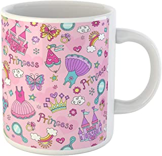 Semtomn Funny Coffee Mug Princess Seamless Pattern Ballerina Tiara Groovy Fairy Tale Notebook Doodles 11 Oz Ceramic Coffee Mugs Tea Cup Best Gift Or Souvenir