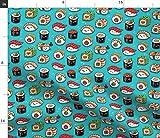 Kawaii, Sushi, Fisch, Emoji, Japanisch, Essen, Comic Stoffe