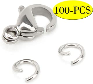 Wholesale Pack-50 PCS 9mm Stainless Steel Lobster Clasps and 100 PCS 4mm Open Jump Rings Set Jewelry Making Findings