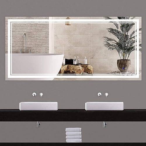 Keonjinn 60x28 Inch Bathroom Mirror Anti-Fog Wall Mounted Makeup Mirror with LED Light Over Vanity (Horizontal/Vertical)