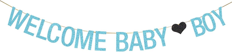 WeBenison Welcome Baby Boy Banner for Baby Shower/Boy Prince 1st Birthday / 6 Months Birthday/Gender Reveal Party Decoration Supplies Blue Glitter