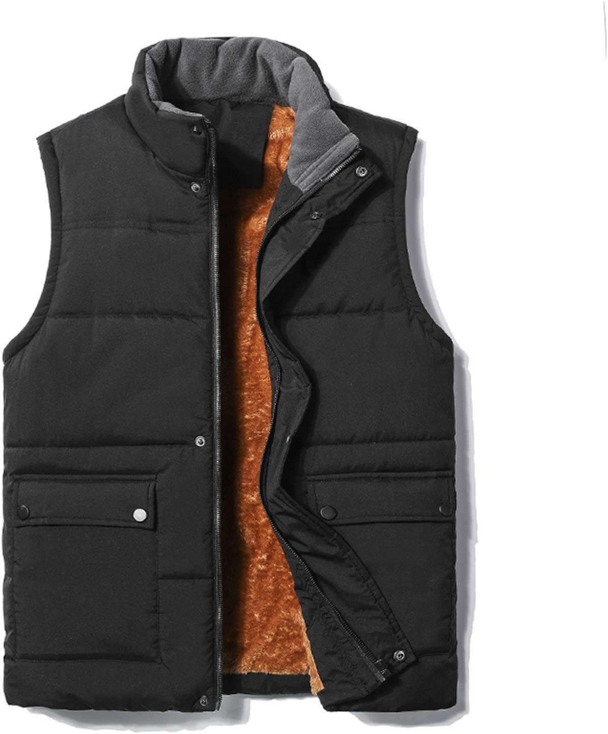LYLY Vest Women Men's Vest Zipper Button Casual Coats Male Pure Color Autumn Winter Sleeveless Waistcoat Fleece Warm Vest Top Coat 5XL Vest Warm (Color : Black, Size : L)