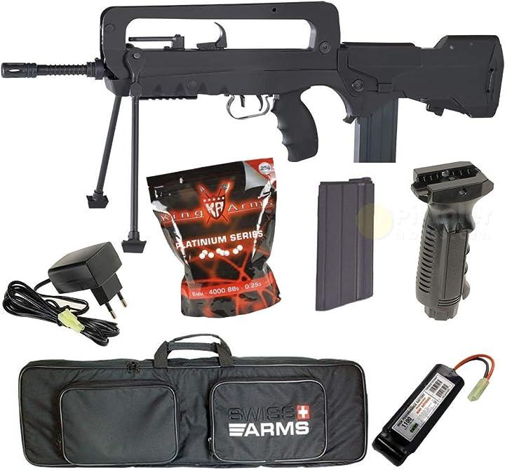 Fucile softair famas con pacchetto completo - pack complet famas f1 fibra di nylon elettrico, 0,5 joule B07QRR6YHX